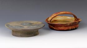 種子島台鉢/アセロ釉手付鉢