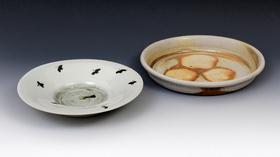 鉄絵草鳥文鉢/唐津焼〆平皿